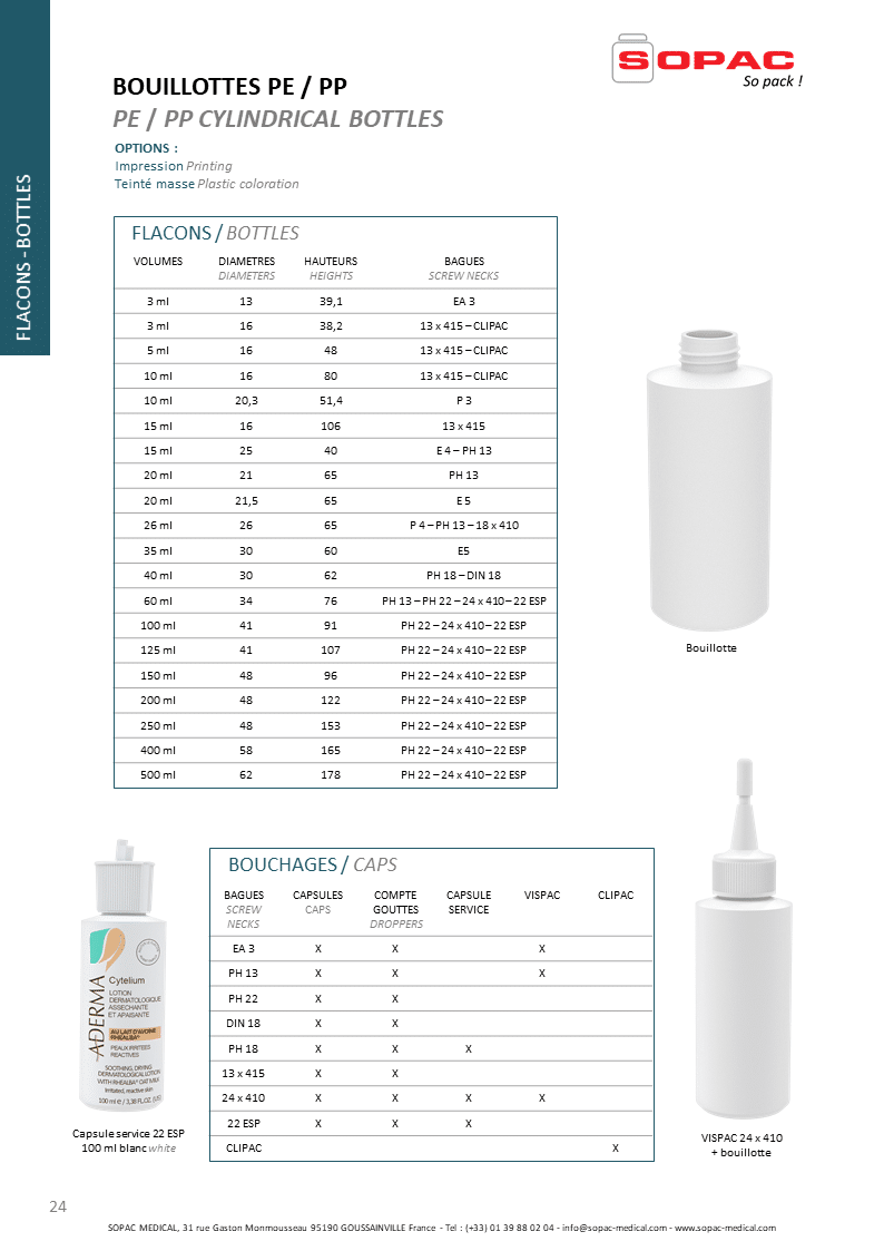 Flacon plastique bouillotte, PE,PP, Plastic Cylindrical Bottles