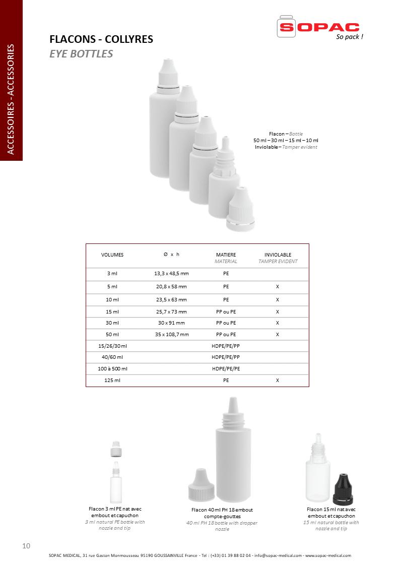 collyres, Collyre ophtalmique, pharmaceutique, compte-gouttes, dropper nozzle, packaging, Eye bottles, pharmaceutical dropper