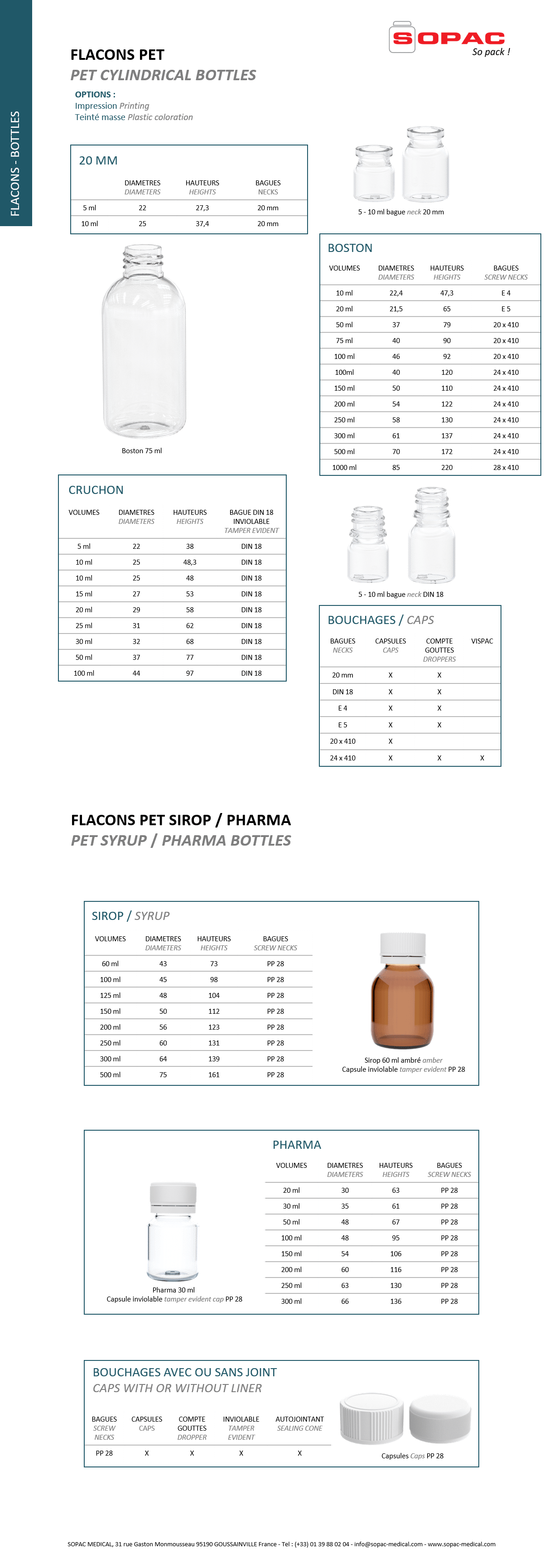 Bottle / Flacons PET + PET sirop / syrup